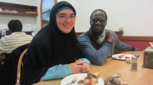 Anne Myers with her Muslim friends at the weekly dinner