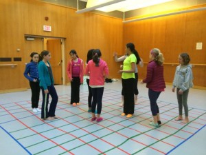 Girls learning dance on a coordinate plane
