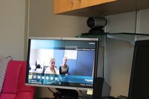 Stacy Garrity and Cheryl Re demo a video unit at the TeleNursing Center