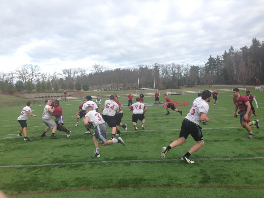 Anna Maria Football team practicing this spring. Photo by Rob Sturgis.