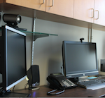 One of the TeleNursing stations to be used by the SANE program features two cameras, one for the Dept. of Defense (left) and one for other sites (right)