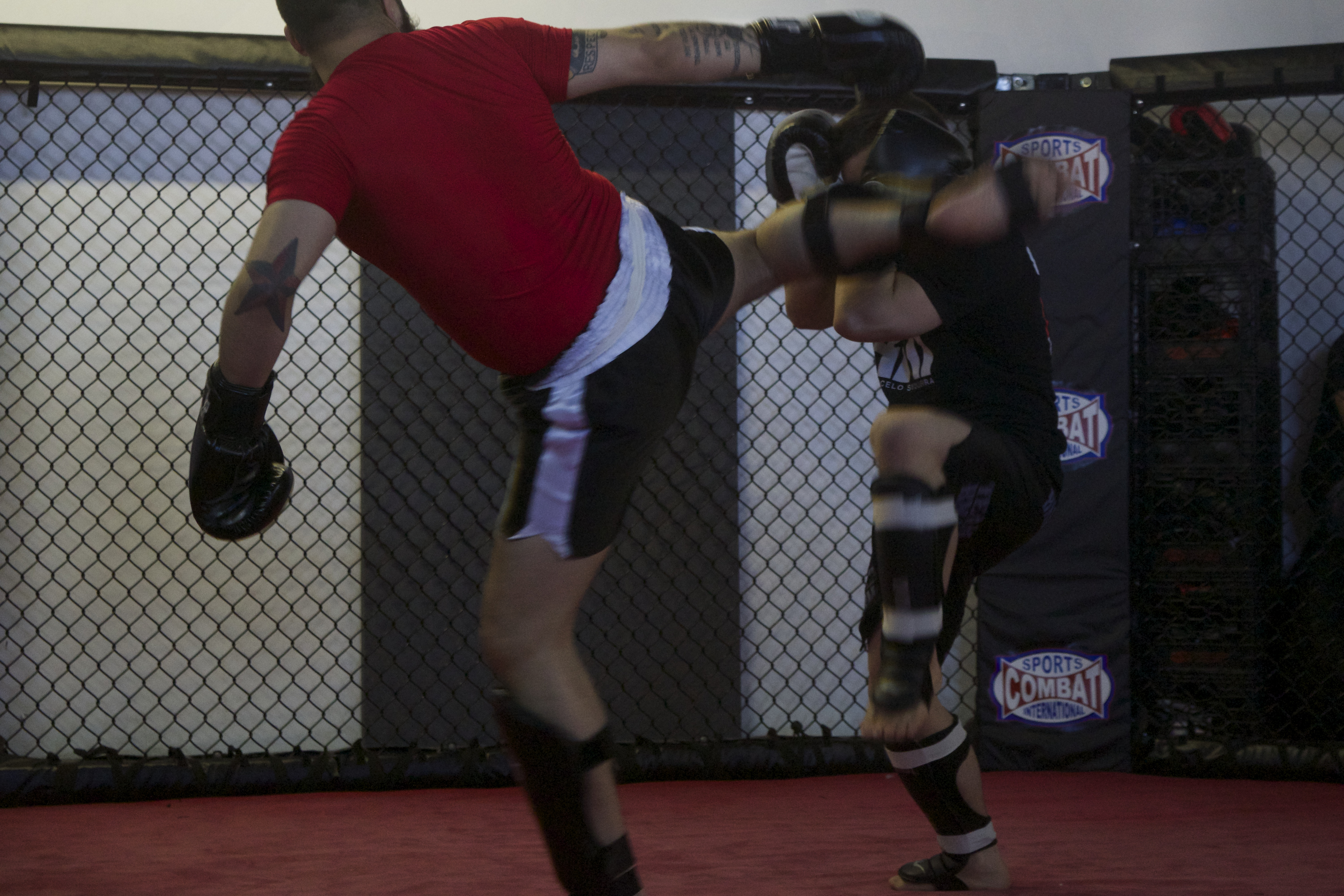 "LJ Scarcella lands a ""Dtae,"" or kick against his opponent, ""Jimbo"" Slice in an April 4showcase at the Brazilian Martial Arts Center."