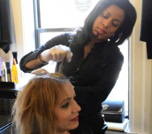Shellee Mendes with a client at Hair Salon Monet on Newbury Street.