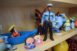 Miniature figurine of a police officer. This object is one of hundreds available for Sandtray/Worldplay at The Louis D. Brown Peace Institute.