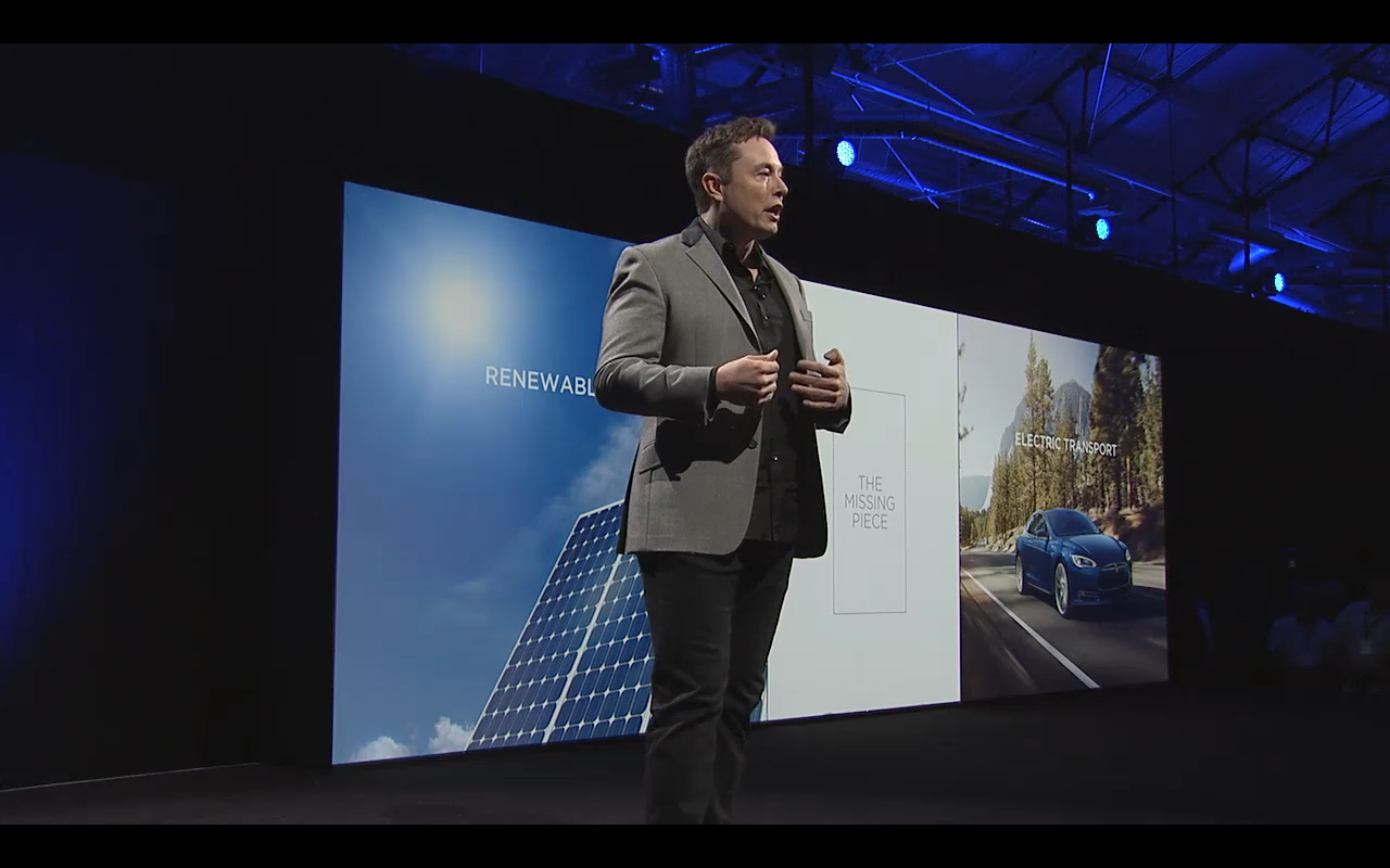 Elon Musk unveils the Powerwall, a new battery that can power homes and businesses.