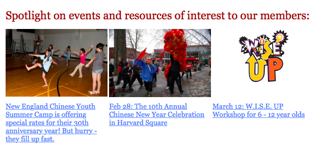 A snapshot of FCCNE's events from its newsletter.