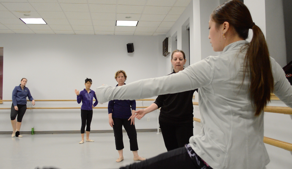 Haruka Tamura at her second job teaching an open adult ballet class. Photo by Shaz Sajadi