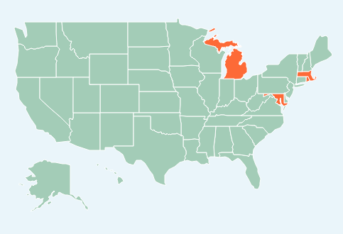 In orange, states that passed a food allergy legislation. Source: FARE. By Kelly Thomas