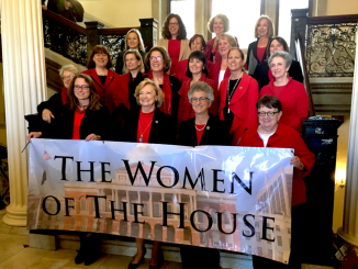"Women of the Massachusetts House of Representatives supporting the ""1 Day Without a Woman"" movement. Photo courtesy @MAWomensCaucus twitter."