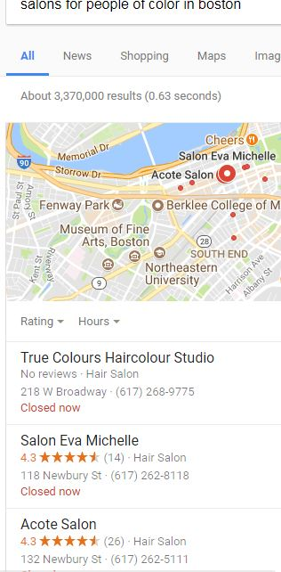 Results from searching for salons for people of color.